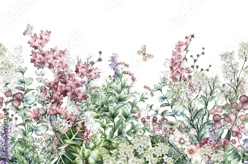 seamless rim. Border with Herbs and wild flowers, leaves. Botanical Illustration Colorful illustration on white background. Spring composition with butterfly - 153533338
