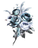 watercolor flowers. floral illustration, bouquet flower in Pastel colors, blue rose. branch of flowers isolated on white background. Leaf and buds. Cute composition for wedding or  greeting card