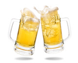 Cheers cold beer with splashing out of glasses on white background. - 153536352
