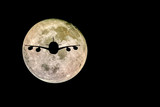 Silhouettes of Aircraft and super moon, Full moon