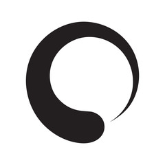Black enso zen circle on white background