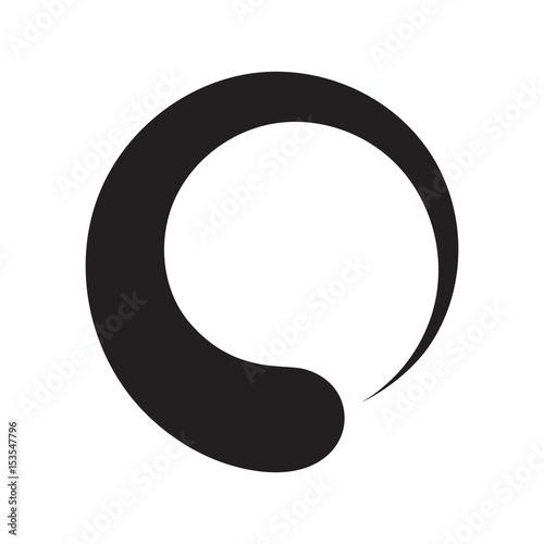 Black enso zen circle on white background