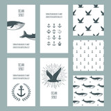 Set of nautical greeting cards and seamless patterns. Whales, anchors and seagulls symbols. Vector.