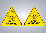 Baby on board sign. Boy and girl. Warning sign