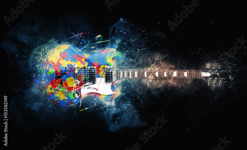 Colorful psychedelic rock guitar - grunge illustration - 153582149