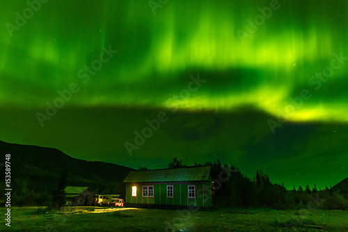 Northern Lights. The green sky. The radiance in the sky.
