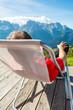 Young man relaxing in mountain resort.