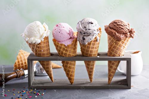 Leinwanddruck Bild Variety of ice cream cones