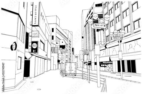 漫画風ペン画イラスト 繁華街 - 153741947