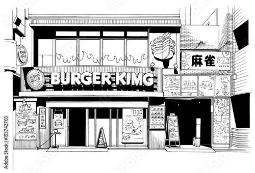 漫画風ペン画イラスト 繁華街 - 153742703