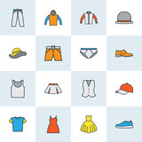 Clothes Colorful Outline Icons Set. Collection Of Evening Gown, Shorts, Jacket And Other Elements. Also Includes Symbols Such As Shorts, Outfit, Feminine.