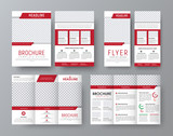 Design front and back side folding brochure, A4 flyer and a narrow flyer with red elements design - 153777180