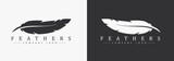 Fototapety Logo design with feather and company name, for a writer or publishers.