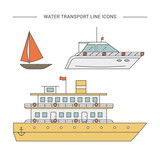 Water transport vector line icons.
