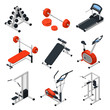 Gym Equipment Isometric Set - 153792549