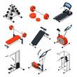 Gym Equipment Isometric Set - 153792549