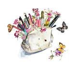 Sets of cosmetics with roses. Watercolor sketch. Hand drawn illustration
