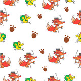 Pattern of fox and chick colorful
