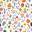 Seamless floral vintage pattern. Background with flowers, plants, leaves and herbs. Bright floral pattern - 153812331