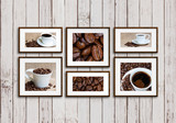 Collage of six photo frames with coffee motif posters, on old white painted wooden panels wall, interior design mock up