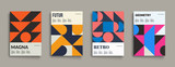 Fototapety Retro graphic design covers. Cool vintage shape compositions. Eps10 vector.
