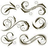 Floral swirls design elements. Vector illustration. - 153815739