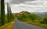 Tuscany Landscape with Cypress Trees - 153821149