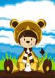 Cartoon Giel in Bear Costume - 153823979