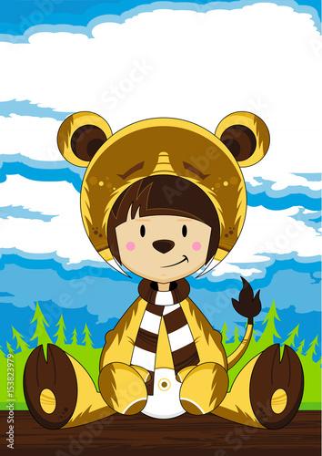 Cartoon Giel in Bear Costume