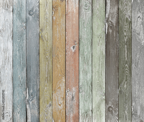 Old color wood planks background - 153850742