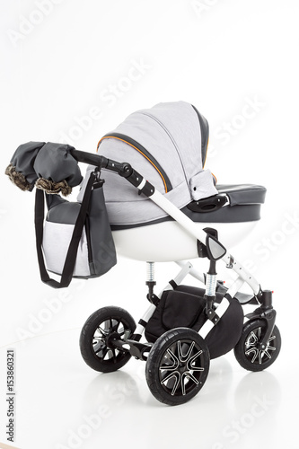 Child pram isolated on the white background Poster