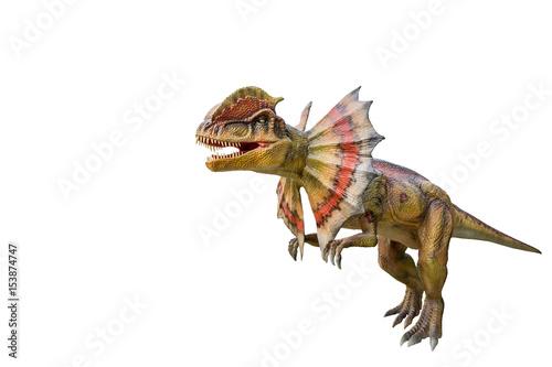 Plagát Dinosaur dilophosaurus and monster model Isolated white background