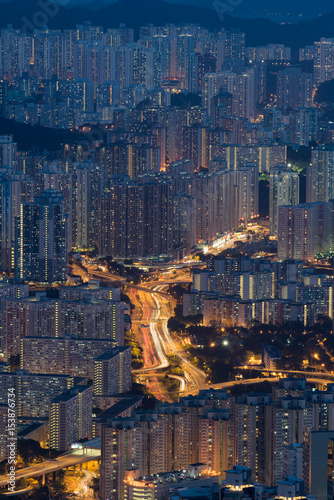 Poster Hong Kong city view with street light from hilltop at night