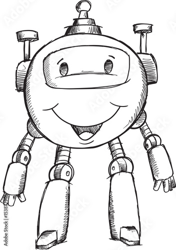 Doodle Robot Illustration Vector Art