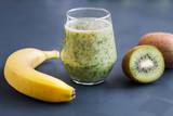 Healthy food. Smoothies of kiwi and banana