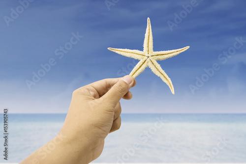 Hand holding starfish at beach Poster