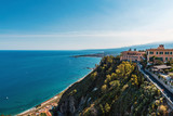 View of Taormina, Sicily perched on a hill