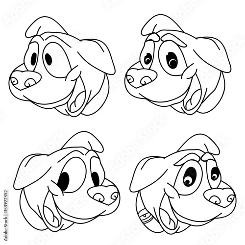 Papiers peints Cartoon draw Head of a cute puppy on white background