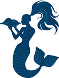 Silhouette Of A Mermaid Blowing A Conch Shell Horn Eps 8  Illustration Wall Sticker