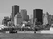 Black and white skyline of Montreal city, day