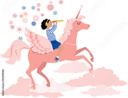 Little girl riding a unicorn and looking in a telescope, EPS 8 vector illustration - 153949580
