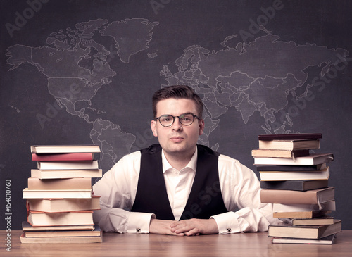 Plakat Geography teacher at desk