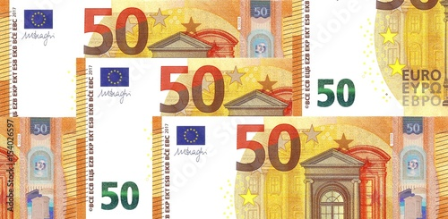 Poster Pile of New 50 € Banknote Fifty Euro Note 2017 - Business background