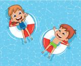 Kids floating in swimming pool