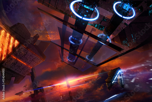 Foto op Aluminium Kosmos Illustration on a futuristic space station in a sky with sunset and space ships flying.
