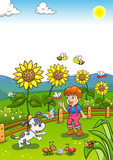 Little Gardener Boy with Sunflower and his Dog.