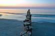 Quadro Sonnenuntergang am Meer Ostsee mit Buhnen