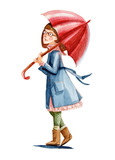 Watercolor illustration. The girl with glasses in coat takes umbrella go for a walk - 154181167