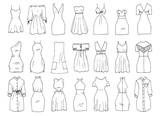 Hand drawn vector clothing set. 21 models of trendy mini dresses.