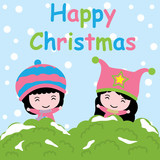 Cute girls on snow background vector cartoon, Xmas postcard, wallpaper, and greeting card, T-shirt design for kids